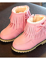 cheap -Girls' Shoes Leatherette Winter Fall Comfort Snow Boots Boots Walking Shoes Mid-Calf Boots Tassel(s) For Casual Pink Red Black