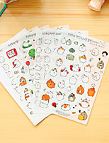 6 unids / set etiqueta engomada del diario del conejo gordo de dibujos animados etiqueta engomada del teléfono pegatinas de scrapbook