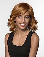 Недорогие -жен. Человеческие волосы без парики Черный Medium Auburn Средний Свободные волны