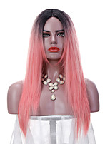 Two Tone Colors Women's Ombre Pink Straight Wigs Long Dark Roots Synthetic Wig Cosplay Soft Natural Heat Resistant  African Hair Fashion New Design