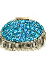 cheap -Women Bags Polyester Evening Bag Crystal Detailing Tassel for Wedding Event/Party All Season Blue Green Fuchsia