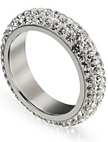 Men's Women's Statement Rings Cubic Zirconia Hiphop Gift Stainless Steel Circle Jewelry For Holiday Festival