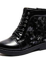 cheap -Women's Shoes Nappa Leather Winter Combat Boots Boots Round Toe For Outdoor Burgundy Black