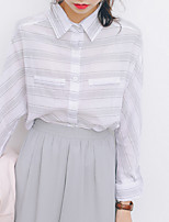 Women's Daily Cute Shirt,Striped Shirt Collar Long Sleeves Cotton