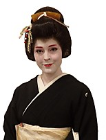 cheap -Japanese Geisha Cosplay wig Black Synthetic Full Wig