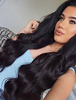 Women Human Hair Lace Wig Peruvian Remy Lace Front Glueless Lace Front 130% Density With Baby Hair Body Wave Wig Black Black Medium