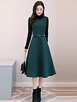 Women's Holiday Going out Boho Street chic Sophisticated Sweater Dress Suits,Solid