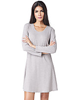 Women's Party Daily Vintage Casual Sexy Street chic A Line Loose Sheath Dress,Solid Vintage Round Neck Above Knee Long Sleeve Cotton