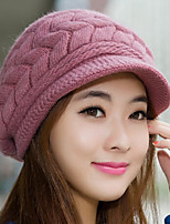 Women's Rabbit Fur Cotton Blend Bucket Hat Baseball CapCute Party Work Casual Solid Fall Winter Knitted
