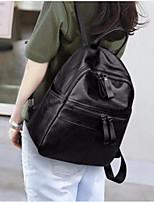 Women Bags PU Backpack Zipper for Casual All Season Black