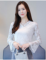 cheap -Women's Daily Street chic Blouse,Solid V Neck Long Sleeves Polyester