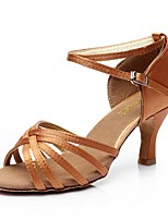 Women's Latin Silk Sandal Indoor Buckle Customized Heel Nude Brown Black Customizable