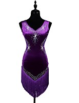 Shall We Latin Dance Dresses Women's Performance Spandex Crystals/Rhinestones Tassel(s) Sleeveless Dress