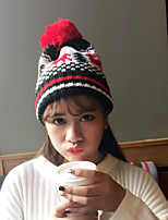 Women's Sweater Floppy Hat,Vintage Casual Reindeer Winter Knitted