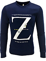 cheap -Men's Daily Sweatshirt Letter Cotton Long Sleeves