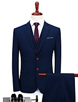 Dark Blue Plaid/Checkered Standard Fit Polyester Suit - Peaked Lapel Single Breasted One-button