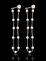 Women's Drop Earrings Imitation Pearl Sweet Elegant Alloy Line Jewelry For Party Gift Daily Ceremony Holiday