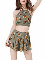 Для женщин На выход На каждый день Весна Лето Блуза Брюки Костюмы Хальтер,Простой Очаровательный Секси Цветочный принт Контрастных цветов