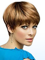 cheap -Women Human Hair Capless Wigs Strawberry Blonde/Light Blonde Medium Auburn Natural Black Short Straight Side Part