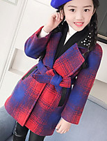 Girls' Plaid Jacket & Coat,Polyester Long Sleeves