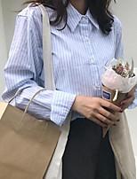 abordables -Mujer Bonito Casual/Diario Camisa,Cuello Camisero A Rayas Manga Larga Algodón