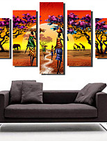 Stretched Canvas Print Classic,Five Panels Canvas Vertical Panoramic Print Wall Decor For Home Decoration