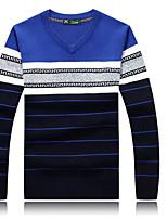 Для мужчин На каждый день Обычный Пуловер Полоски Контрастных цветов,Круглый вырез Длинный рукав Хлопок Средняя Слабоэластичная