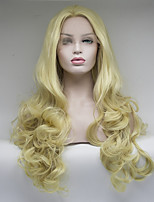 cheap -Women Synthetic Lace Front Wig Medium Length Light Blonde Natural Wigs Costume Wig