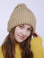 cheap -Women's Acrylic Roman Knit Floppy HatVintage Cute Casual Floral Winter Braided Khaki Wine Yellow Dark Gray Red