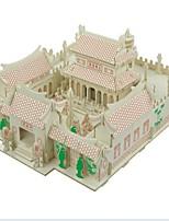 abordables -Puzzles 3D Puzzle Puzles y juguetes de lógica Modelo de madera Juguetes de construcción Juguetes Casa 3D templo Shaolin Casas De moda