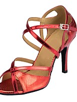 Women's Latin Synthetic Sandal Indoor Customized Heel Navy Red Silver Gold