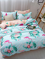 Duvet Cover Sets Floral 4 Piece Poly/Cotton Reactive Print Poly/Cotton 4pcs (1 Duvet Cover, 1 Flat Sheet, 2 Shams) (If Twin size, only 1