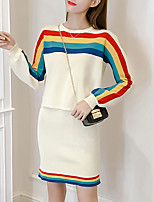 Women's Daily Going out Casual Active Sweater Skirt Suits,Striped