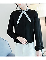 abordables -Mujer Bonito Ropa Cotidiana Camisa,Cuello Camisero Un Color Manga Larga Algodón