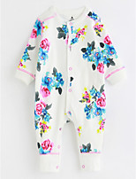 Baby Patterned One-Pieces,Cotton Fall/Autumn Long Sleeves White