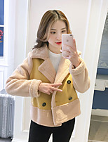 cheap -Women's Casual/Daily Simple Winter Fall Fur Coat,Solid Color Block V Neck Long Sleeve Short Faux Fur
