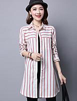 Women's Others Street chic Shirt,Striped Shirt Collar Long Sleeves Cotton