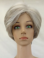Women Synthetic Wig Capless Short Curly Grey Middle Part Layered Haircut Natural Wigs Costume Wig