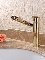 Contemporary Deck Mounted Rotatable Ceramic Valve Single Handle One Hole Ti-PVD , Bathroom Sink Faucet