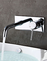 Contemporary Wall Mounted High Quality with  Ceramic Valve Single Handle Two Holes for  Chrome , Bathroom Sink Faucet