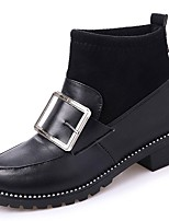 cheap -Women's Shoes PU Winter Fall Light Soles Boots Round Toe Booties/Ankle Boots For Casual Black