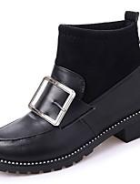 abordables -Mujer Zapatos PU Invierno Otoño Suelas con luz Botas Dedo redondo Botines/Hasta el Tobillo Para Casual Negro