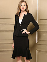 Women's Work Casual Set Skirt Suits,Solid Long Sleeves Polyester