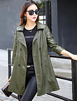cheap -Women's Daily Going out Simple Casual Winter Fall Leather Jacket,Solid Shirt Collar Long Sleeves Long PU