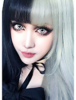 cheap -European and American Fashion beauty Wigs Long Straight Hair Bangs Black Mixed And White High Temperature Synthetic Fiber