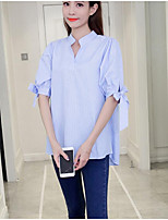 cheap -Women's Daily Wear Cute Shirt,Solid Striped Shirt Collar Half Sleeves Cotton