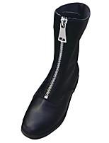 Недорогие -Для женщин Обувь Полиуретан Зима Армейские ботинки Ботинки Круглый носок Сапоги до середины икры Назначение Повседневные Черный