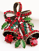 Men's Brooches Synthetic Ruby Rhinestone Chrismas Rhinestone Tree of Life Jewelry For Christmas