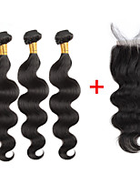 Недорогие -Натуральные волосы Реми Индийские волосы Человека ткет Волосы Естественные кудри Наращивание волос 4шт Черный