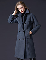 cheap -FRMZ Women's Party Daily Simple Casual Active Winter Coat,Solid Shirt Collar Long Sleeves Long Wool Polyester Nylon